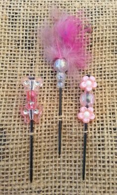 Flowers and Butterflies Beaded Push Pin by GrlFridayProductions, $5.00