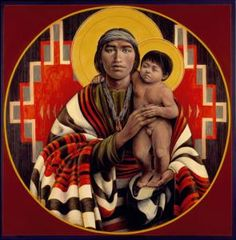 """""""Joseph and the Christ Child"""" by Father John Giuliani (there is so little art with Joseph and his son . Catholic Art, Catholic Saints, Religious Art, Religious Jewelry, Native American Pictures, Native American Art, St Joseph, Native American Spirituality, Navajo Art"""