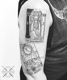 The High Priestess and The Moon from the Rider-Waite deck, done in single needle. The Magician will join the party soon!   #tarot #tarotcards #riderwaite #highpriestess #moon #themoon #tattoo #tarottattoo #tattoos #tatuaje #tatouage #linework #lineworktattoo #singleneedle #singleneedletattoo #blackwork #blackworkers #darkart #darkartist
