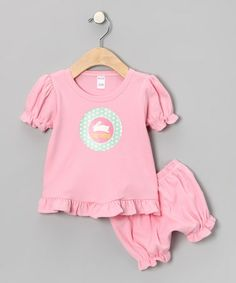 Light Pink Hoppy Bunny Personalized Top & Bloomers - Infant by Lima Bean Kids on #zulily today!