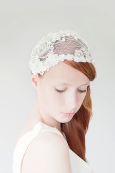 Bridal Head Piece Wedding Hair Accessory Bridal cap par sibodesigns, $295,00