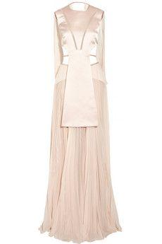 Esteban Cortazar | Cutout satin and chiffon gown | NET-A-PORTER.COM