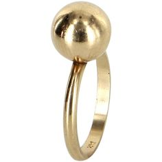 Pre-Owned Vintage Orb Sphere Ball Stacking Ring 14 Karat Yellow Gold (1.640 BRL) ❤ liked on Polyvore featuring jewelry, rings, yellow gold, gold ball ring, 14k stackable rings, 14k ring, yellow gold stackable rings and vintage rings