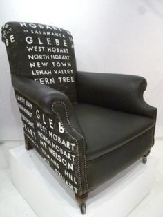 Hobart suburbs, handpainted canvas armchair