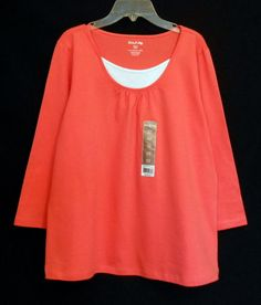 White Stag 20-Fer Scoop Neck 3/4 Sleeve Knit Top Women's Size S 4-6 Coral NWT www.bevsthisnthatshop.com