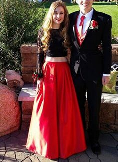 Black Prom Dress,Lace Prom Dress,2016 Prom Dress,Long Sleeves
