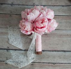 I love the touch of lace to this blush pink peony silk wedding bouquet! By Kate Said Yes Weddings
