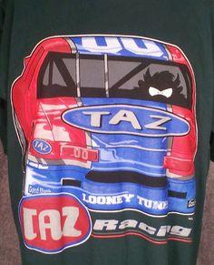 TAZ Racing Looney Tunes T-Shirt Mens Sz L Race Car Tazmanian Devil WB VTG USA #LooneyTunes #GraphicTee