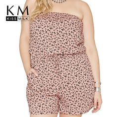 Kissmilk Plus Size Sexy Big Size Strapless Playsuit Large Size Floral Print Romper 3XL 4XL 5XL 6XL Casual High Waist Overalls