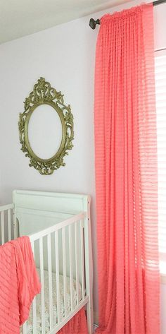 Light Coral Ruffle Curtain 84 Wrinkle Free Shabby Chic Sheer Window Drapery Treatment For Girls