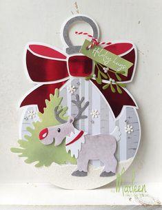 byMarleen: kerst Company Christmas Cards, Christmas Cards To Make, Christmas Gift Tags, Christmas Baubles, All Things Christmas, Handmade Christmas, Christmas Crafts, Xmas, Hand Made Greeting Cards
