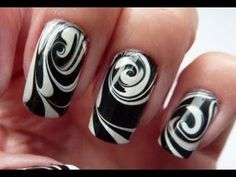 Black and white marble nails :)