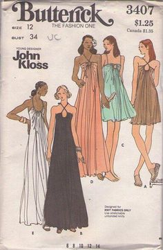 MOMSPatterns Vintage Sewing Patterns - Butterick 3407 Vintage 70's Sewing…