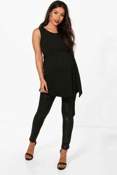 1f95df2aa26c1 boohoo Maternity Jess Crepe Sleeveless Tie Waist Tunic Top Boohoo Maternity,  Black Jeans, Tunic