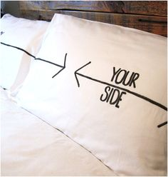 DIY his and hers pillows - how fun!