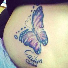 Feet print butterfly tattoo (: