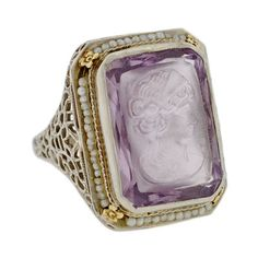 A Brandt and Son - Art Deco 14kt Carved Intaglio Amethyst & Pearl Ring