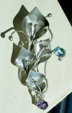 Calla Lily Brooch - Calla Lily Pin Pendant - Sterling Silver - Amethyst - Topaz - Modernist - Studio - Artisan - Unusual - Flowers by Oldtreasuretrunk on Etsy