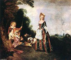 'le danse', huile sur toile de Jean Antoine Watteau (1684-1721, France)