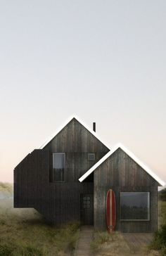 Surf House is a beach retreat designed for a young family by T. Ryan Architecture, located in Ditch Plains, Montauk, New York. Surf House, Style At Home, Home Fashion, Black House, Exterior Design, Interior Architecture, Architecture Journal, Black Architecture, Building Architecture