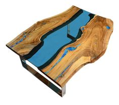 Modern Live Edge River Coffee Table with glowing turquoise resin and natural turquoise stone inside + silver, shiny legs. This table can be created via custom order It has a blue glass river flowing between wood pieces. Complete gallery for this table : Turquoise Color, Pierre Turquoise, Turquoise Stone, Resin Furniture, Living Furniture, Custom Furniture, Resin Table, Wood Table, Table Bench