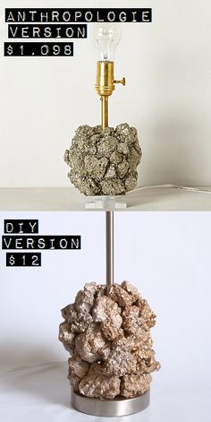 Glitter in My Tea: DIY: Anthropologie Hack Pyrite Lamp I love the rugged elegance of this lamp, and seriously, what a steal! You could do any mineral :D