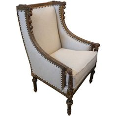 19th Century French Directoire Style Bergere ($4,625) ❤ liked on Polyvore featuring home, furniture, nailhead furniture and patina furniture