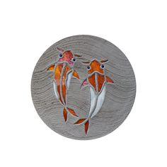 "BIG Stained Glass Stepping Stone Mosaic Koi Fish Goldfish Garden Decor Concrete 18"" Yard Art Garden Pond Decoration Beach Path Pool Walkway by SteppingStoneYardArt on Etsy"
