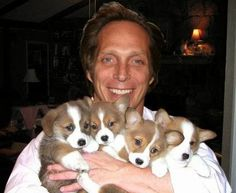 Bill Fichtner with puppies Broken Families, Classy Men, Prison Break, American Horror Story, Man Crush, Sexy Men, Sexy Guys, Movies And Tv Shows, Dog Tags