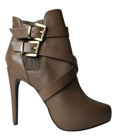 Look what I found on #zulily! Taupe Fame Leather Bootie #zulilyfinds