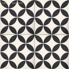"""Cement Tile Shop - Encaustic Cement Tile   Circulos White - 12"""" x 12"""" (Large Format Cement Tiles) - In Stock"""