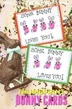Thumbprint Bunny Cards! An adorable spring card for kids to make as a keepsake!