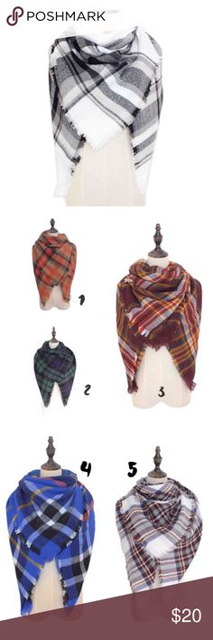 """Plaid Blanket Scarf This listing is for a super soft and comfortable blanket scarves. Model is wearing #8. Feel warm and cozy whilst looking chic. 100% soft Acrylic. Dimension: 58""""x58"""". Looks great with a pair of jeans and top, or a midi dress and ankle boots. Brand new!                                                                ✨9 different colors to choose from. Accessories Scarves & Wraps"""