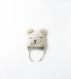 BEAR FACE HANDMADE HAT from Zara