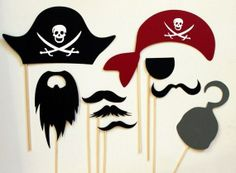 Perfect pirate photo booth props for the Gasparilla party. Pirate Day, Pirate Birthday, Pirate Theme, Cake Birthday, Birthday Kids, Photos Booth, Photo Booth Props, Pirate Photo Booth, Wedding Props