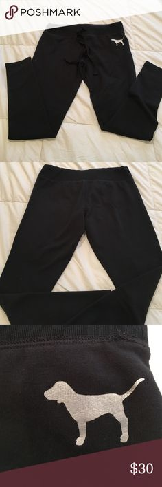 vintage Pink sweat Leggings Black awesome shape !! Fitted and soft !! ❤ PINK Victoria's Secret Pants Leggings