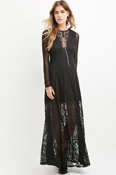Crafted from ornate-patterned lace, this maxi dress features an illusion V-neckline, mesh long sleeves, and chiffon panels on its skirt.