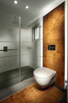 The accent tile here heads across the floor and then wraps up the wall for a strong architectural look. I think the smooth, round shape of the toilet is a nice contrast to the straight lines in the rest of the bathroom. The toilet is proudly centered in the strongest design element in the room.
