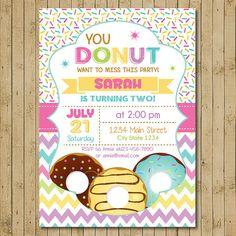 Donut Birthday Invitation Donut Party Birthday by funkymushrooms