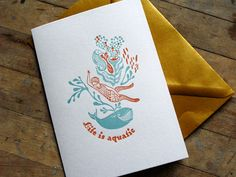 Life is aquatic Letterpressed card by Wafourouletterpress on Etsy