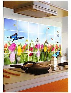 murali Stickers adesivi murali, wall stickers stile cucina olio tulipano pvc