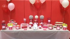 Candy buffet Pink Candy Buffet, Painted Letters, Dessert Buffet, Buffets, Candy Bars, Party Stuff, Cake, Kylie, Desserts