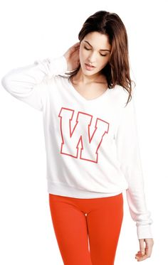Wildfox Couture Simply Sporty V-Neck Baggy Beach Jumper
