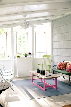 Lovely back porch/patio with garden view. Design Sponge Brian Everett house tour