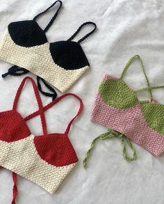 Diy Crochet Projects, Crochet Crafts, Yarn Crafts, Knitting Projects, Sewing Projects, Crochet Crop Top, Cute Crochet, Crochet Bikini, Knit Crochet