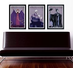 "Disney Villains poster set, The Queen, Ursula, Maleficent, minimalistic poster series, 11""x17"" by PrintMadness on Etsy https://www.etsy.com/listing/238478245/disney-villains-poster-set-the-queen"