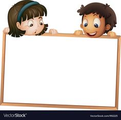 Kids holding wooden frame vector image on VectorStock Wallpaper Powerpoint, Powerpoint Background Design, Boarder Designs, Page Borders Design, Teacher Cartoon, Cartoon Boy, School Border, School Frame, School Murals