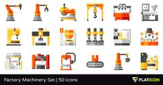 50 free vector icons of Factory Machinery Set designed by Freepik