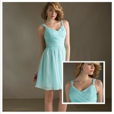 Best Sell New Desgin Mint Sexy Pleat Double Shoulder Prom Dress Adult Knee-Length Bridesmaid Short Dresses2013 $62.00