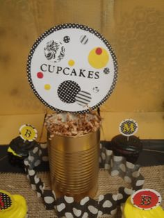 Fall/Bumble Bee Golden Birthday Party- Made matching labels for all of the treats with my cricut. Taped each of the labels to a stick and stuck it in an old soup can that I spray painted gold and stuffed with brown paper gift bag filler stuff. Cupcake toppers also made with cricut and then taped to toothpicks.
